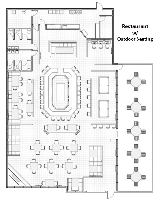 Restaurant Layout Design : Restaurant design with outdoor seating cad pro