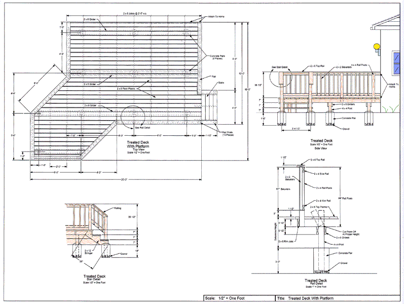 Wood Deck Layout Cad Pro