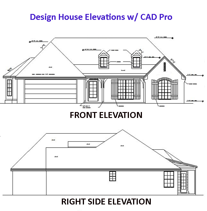 Front Elevation Of House Design Software : House elevation plan cad pro