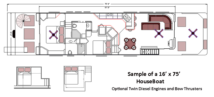 Home Office Layout. House Boat Sample Design