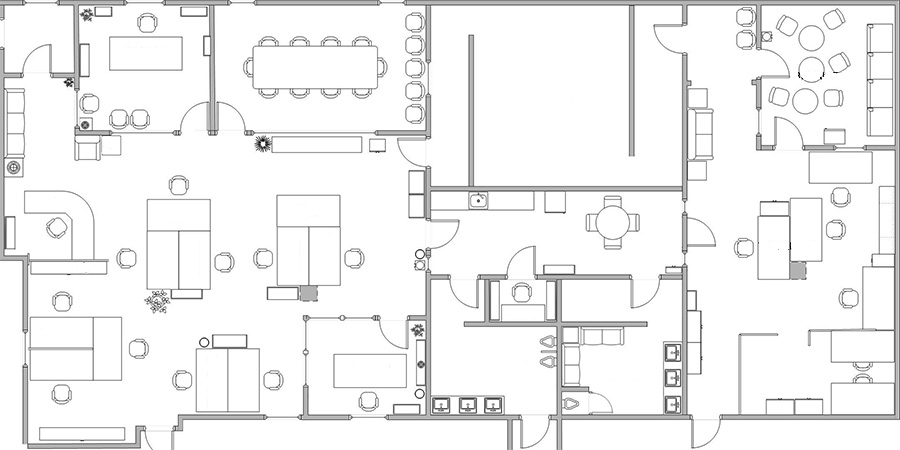 Office Space Layout. Commercial Space Design