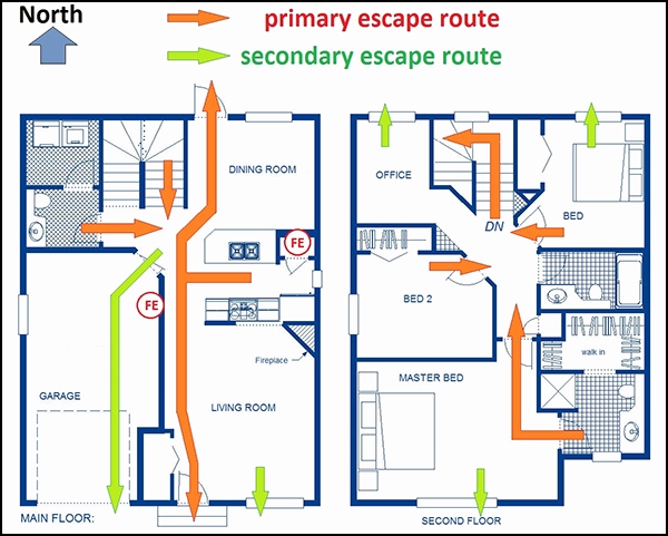 national home fire escape plan guidelines cad pro. Black Bedroom Furniture Sets. Home Design Ideas